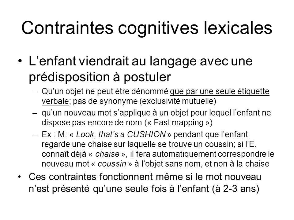 Contraintes cognitives lexicales