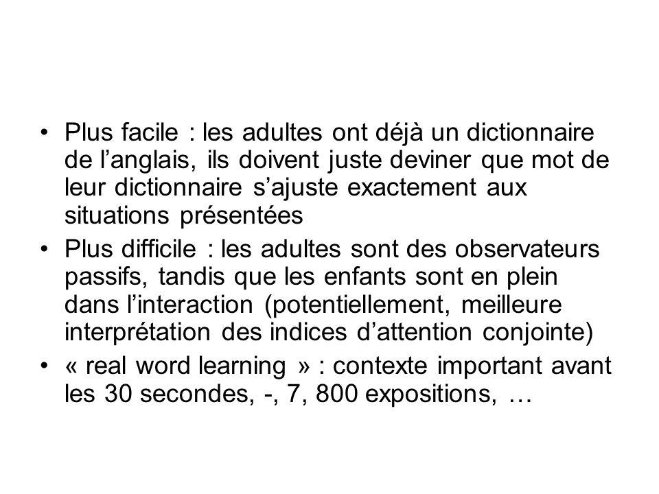 Plus facile : les adultes ont déjà un dictionnaire de l'anglais, ils doivent juste deviner que mot de leur dictionnaire s'ajuste exactement aux situations présentées