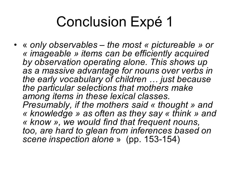 Conclusion Expé 1
