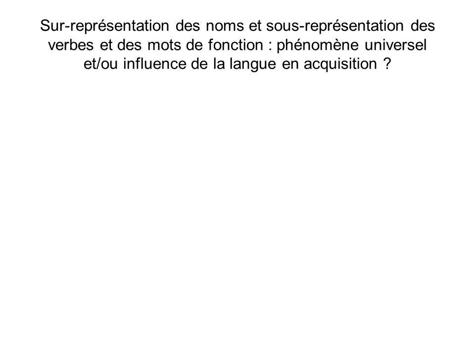 Sur-représentation des noms et sous-représentation des verbes et des mots de fonction : phénomène universel et/ou influence de la langue en acquisition