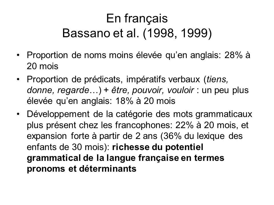 En français Bassano et al. (1998, 1999)