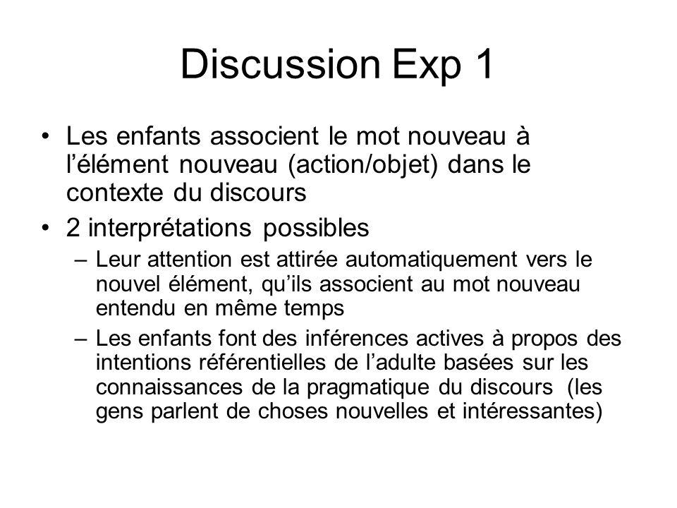 Discussion Exp 1 Les enfants associent le mot nouveau à l'élément nouveau (action/objet) dans le contexte du discours.
