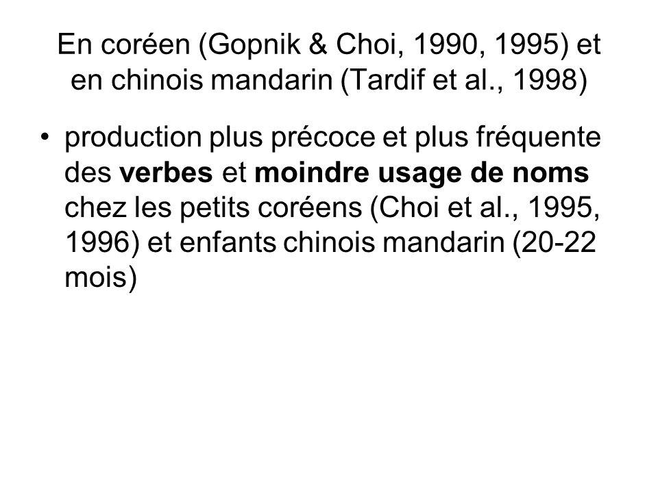 En coréen (Gopnik & Choi, 1990, 1995) et en chinois mandarin (Tardif et al., 1998)