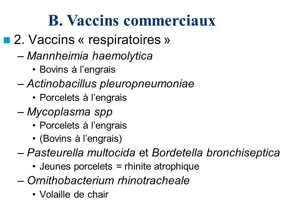 B. Vaccins commerciaux 2. Vaccins « respiratoires »