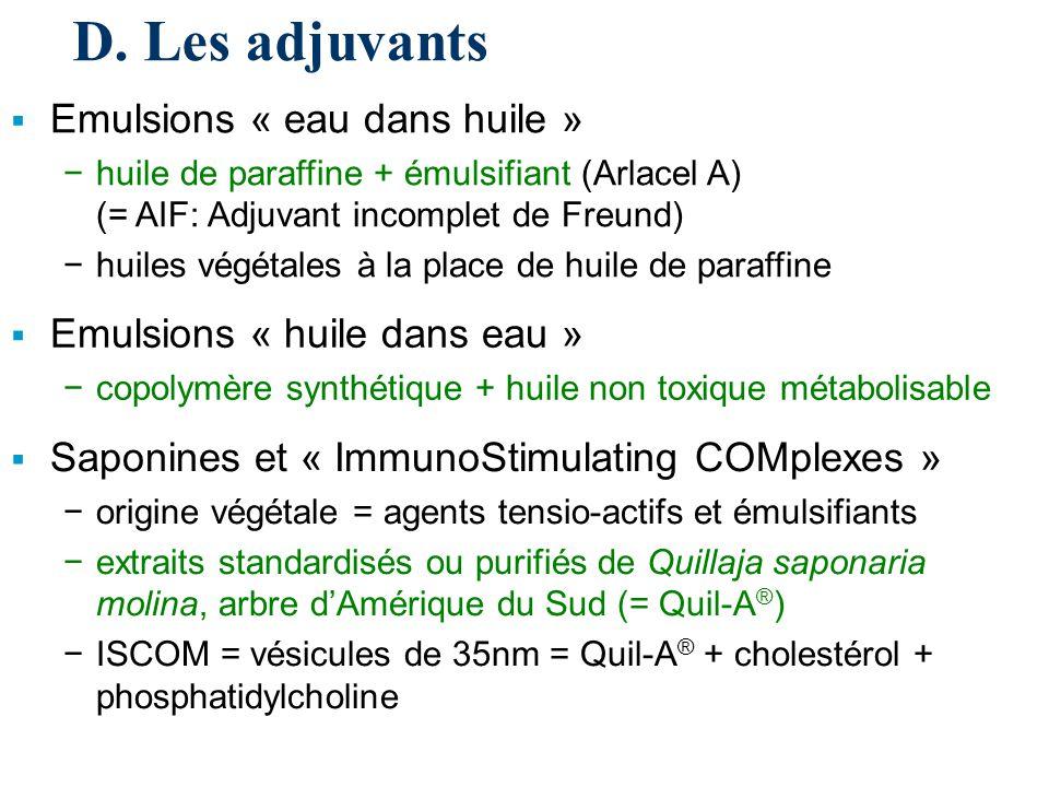 D. Les adjuvants Emulsions « eau dans huile »