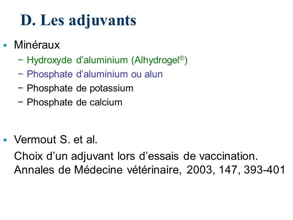 D. Les adjuvants Minéraux Vermout S. et al.