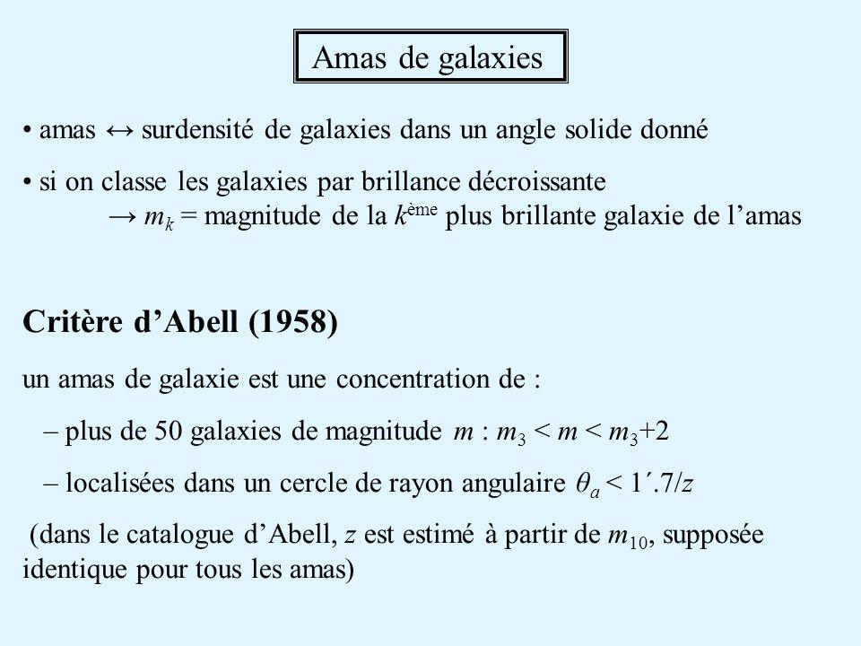 Amas de galaxies Critère d'Abell (1958)