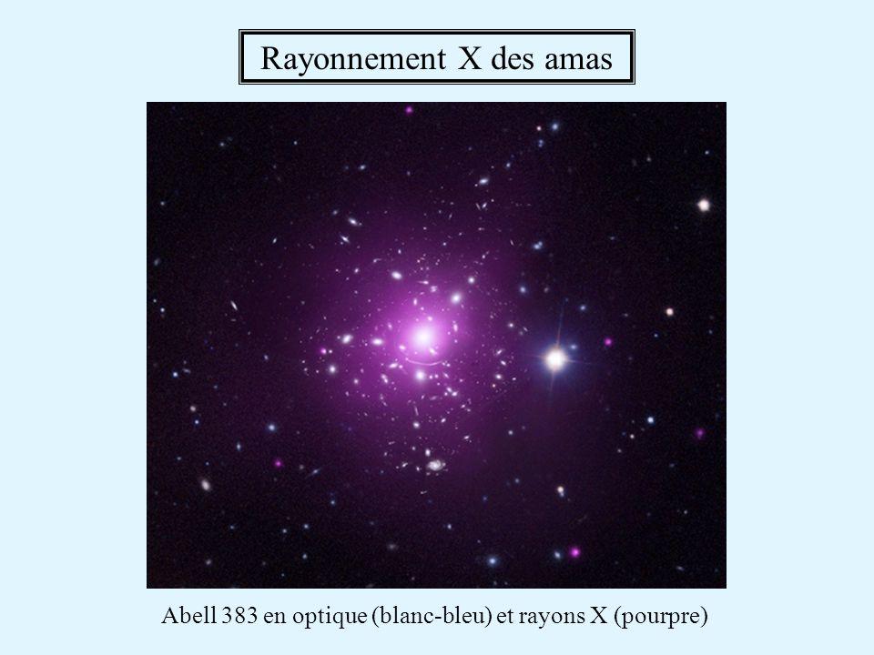 Abell 383 en optique (blanc-bleu) et rayons X (pourpre)