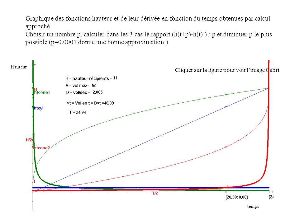 Graphique des fonctions hauteur et de leur dérivée en fonction du temps obtenues par calcul approché