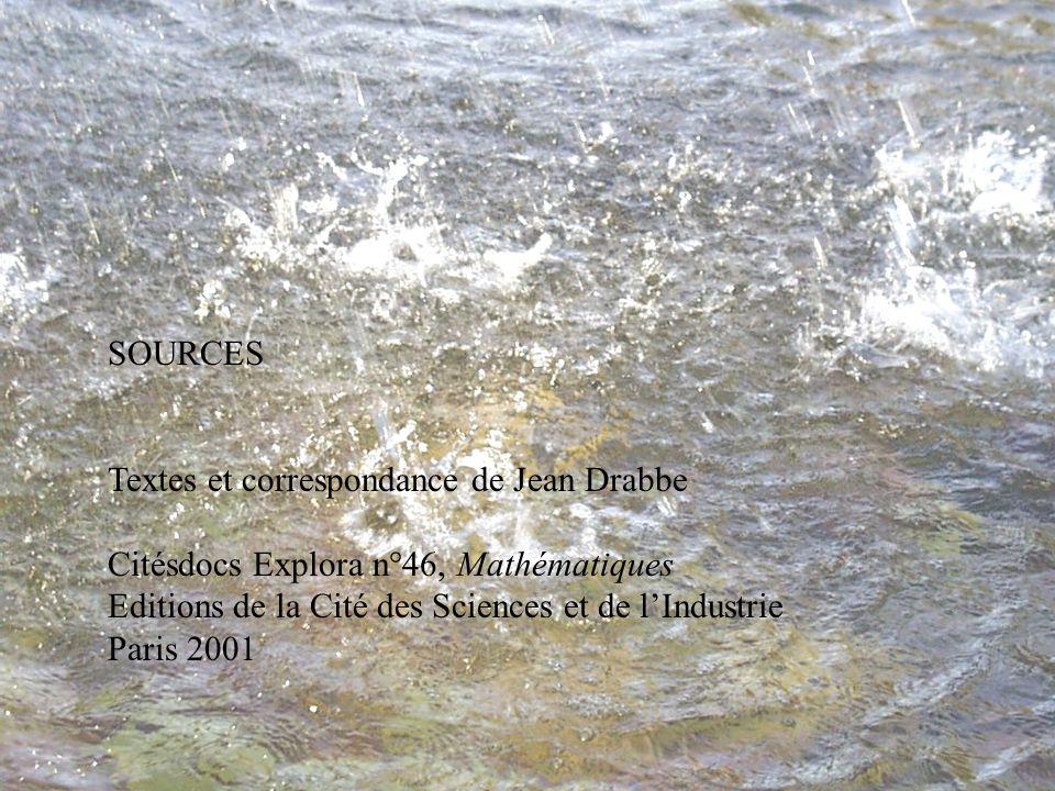 SOURCES Textes et correspondance de Jean Drabbe. Citésdocs Explora n°46, Mathématiques. Editions de la Cité des Sciences et de l'Industrie.