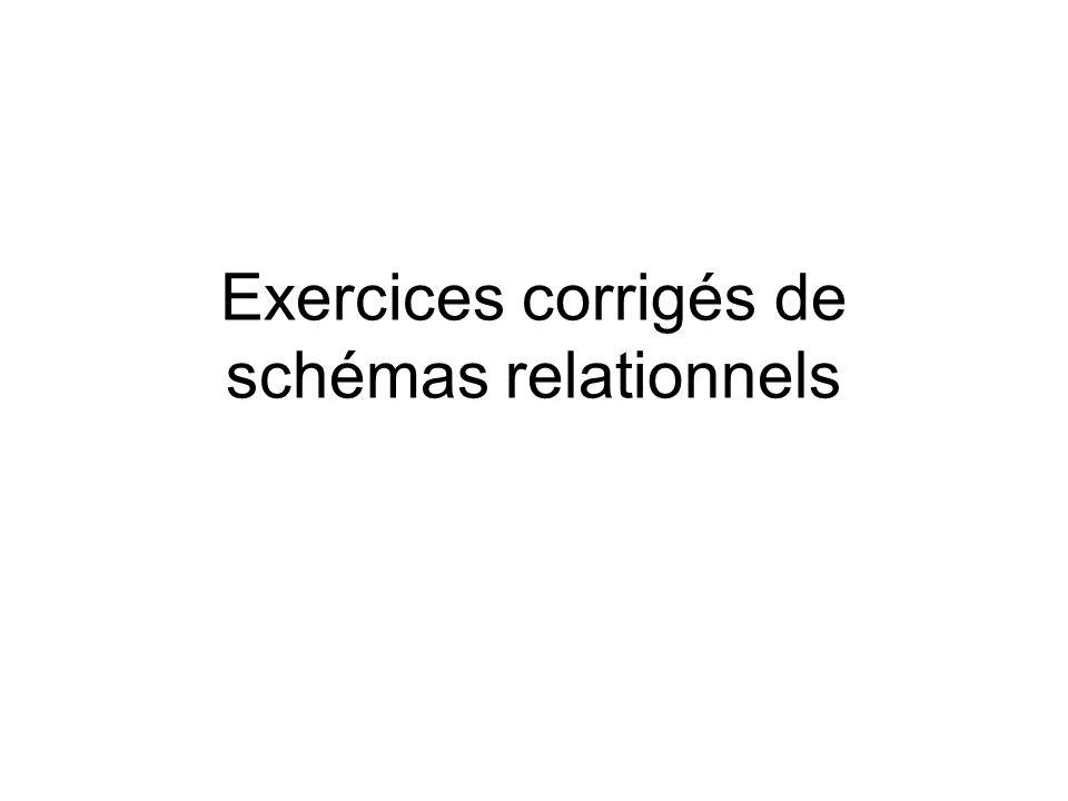 Exercices corrigés de schémas relationnels