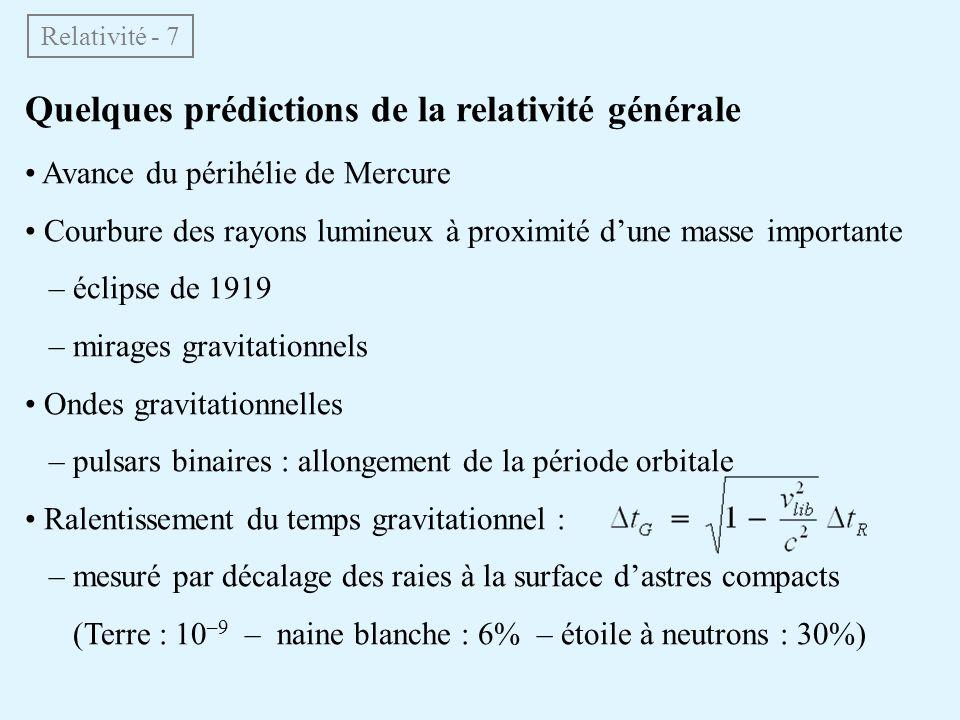 Quelques prédictions de la relativité générale