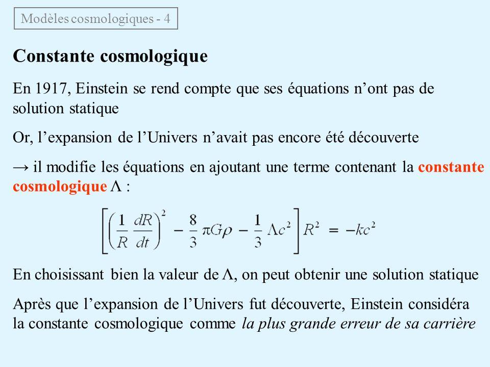 Modèles cosmologiques - 4