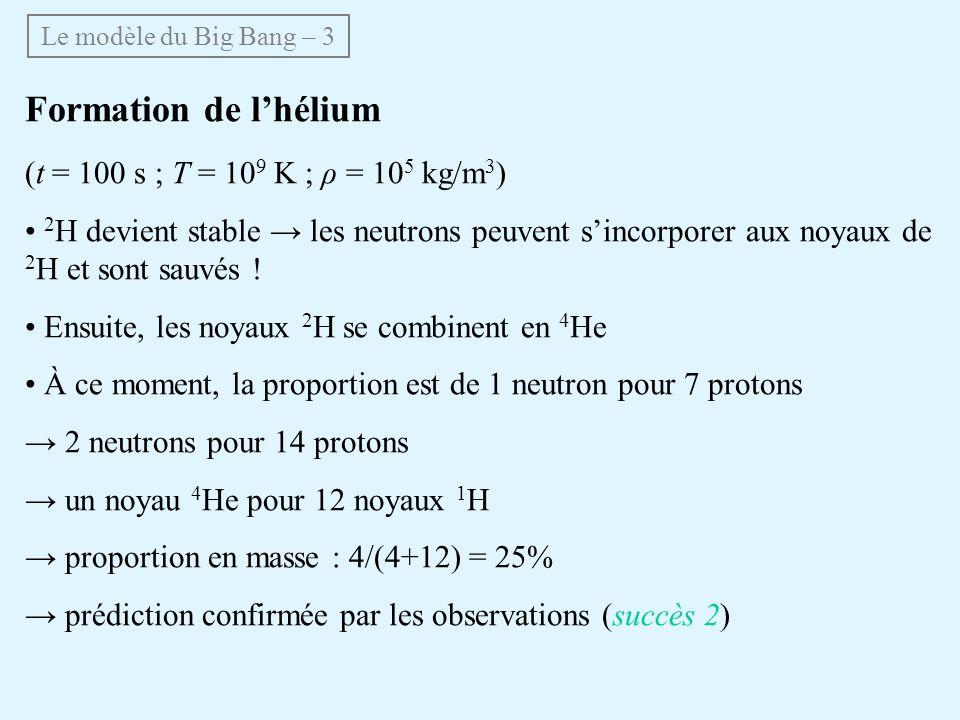 Formation de l'hélium (t = 100 s ; T = 109 K ; ρ = 105 kg/m3)