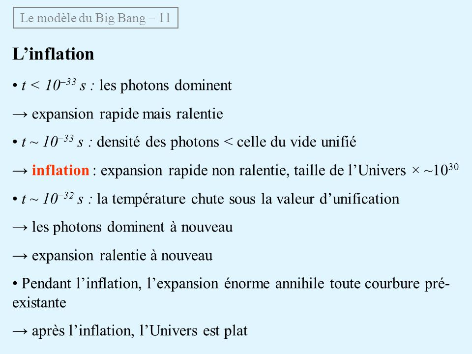 L'inflation • t < 10–33 s : les photons dominent