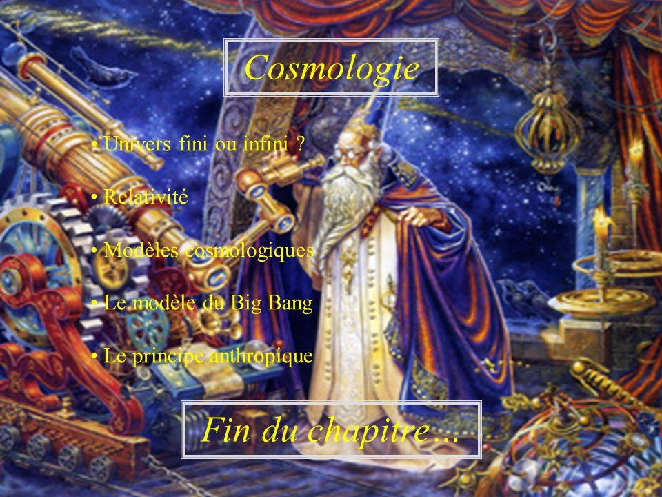 Cosmologie Fin du chapitre… • Univers fini ou infini • Relativité