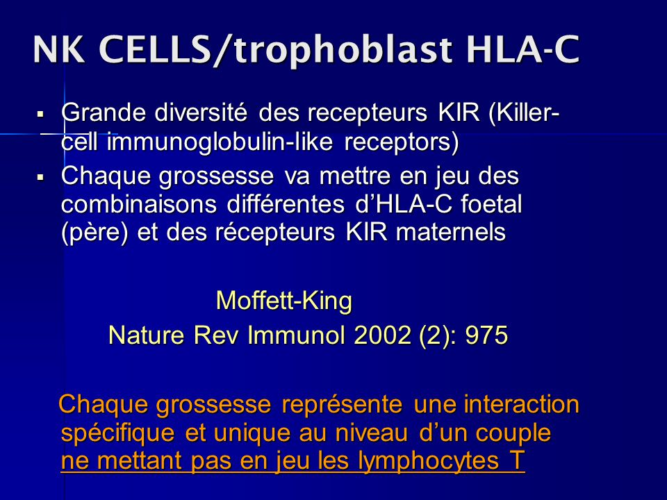 NK CELLS/trophoblast HLA-C