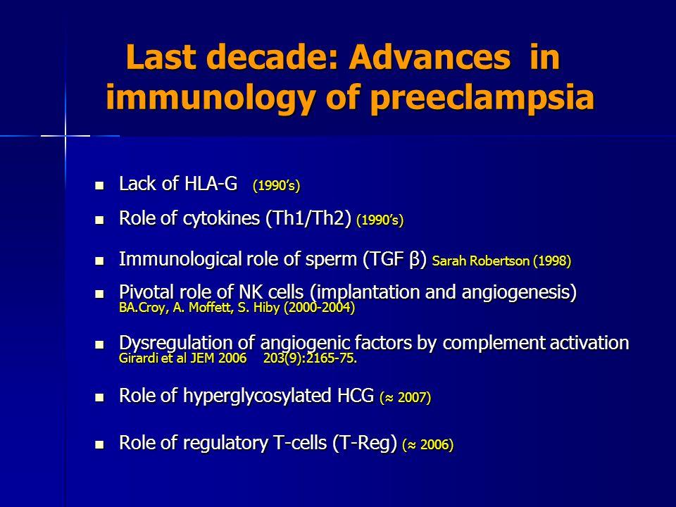 Last decade: Advances in immunology of preeclampsia
