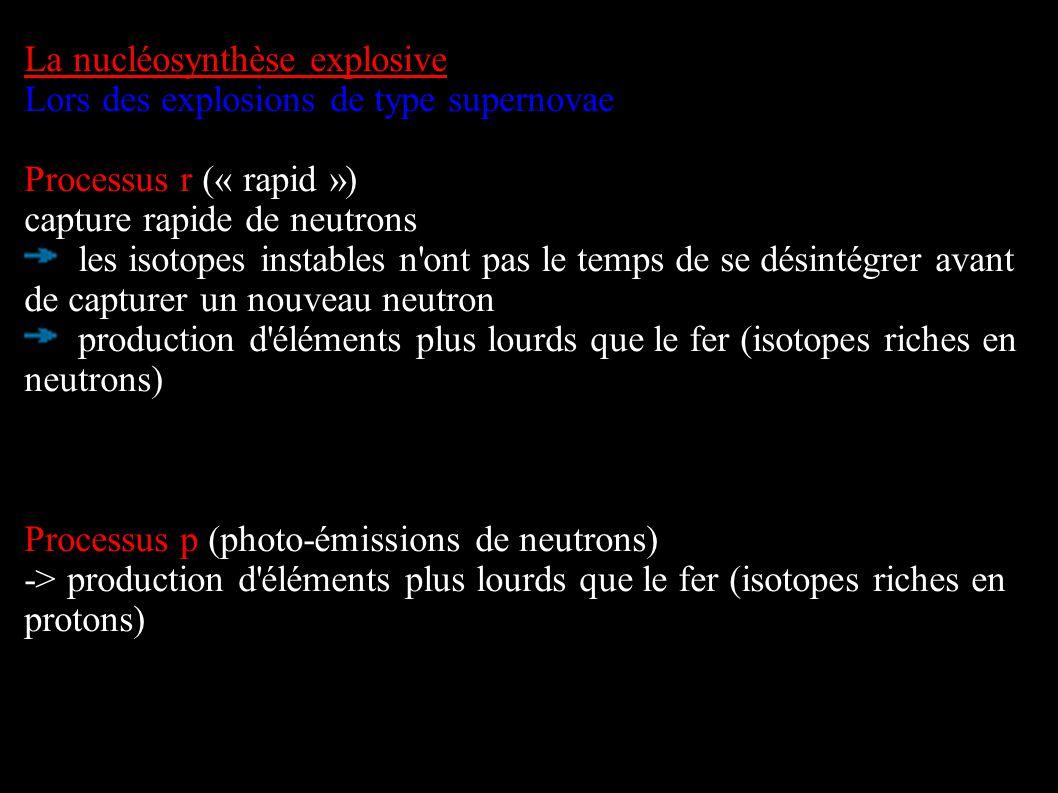 La nucléosynthèse explosive