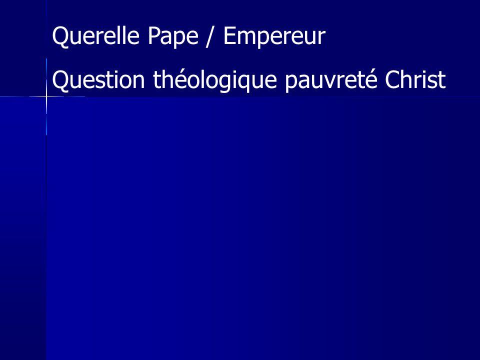 Querelle Pape / Empereur Question théologique pauvreté Christ