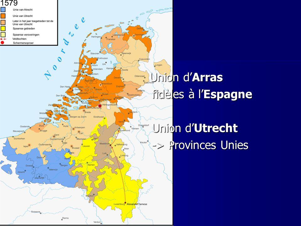 fidèles à l'Espagne Union d'Utrecht -> Provinces Unies