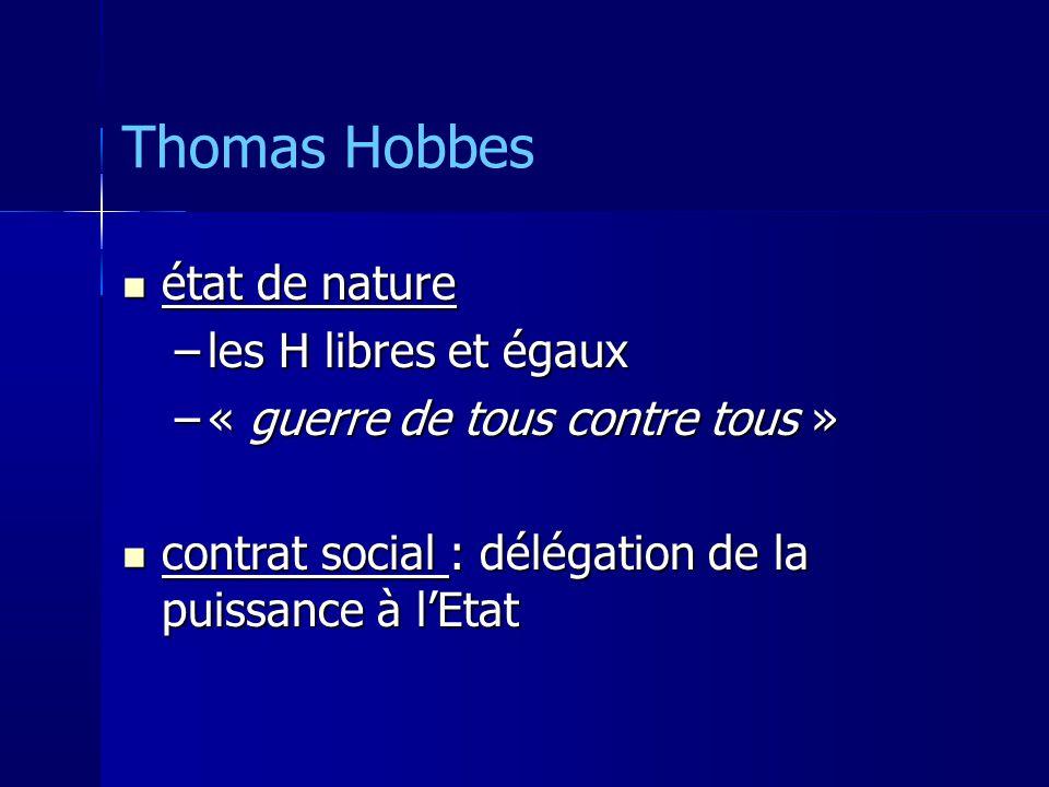 Thomas Hobbes état de nature les H libres et égaux