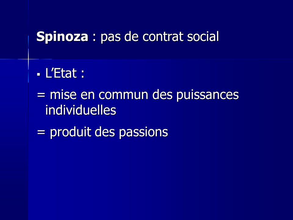 Spinoza : pas de contrat social L'Etat :
