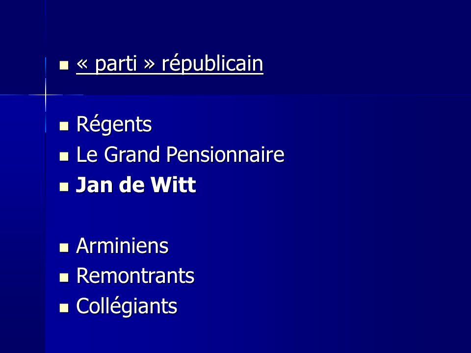 « parti » républicain Régents Le Grand Pensionnaire Jan de Witt