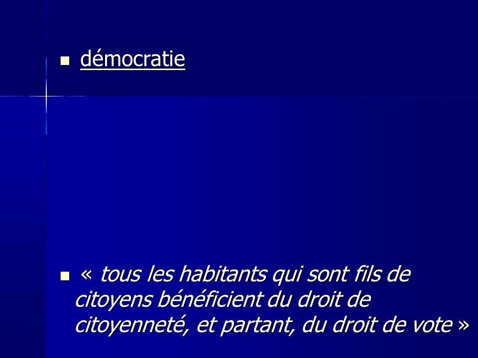 démocratie « tous les habitants qui sont fils de citoyens bénéficient du droit de citoyenneté, et partant, du droit de vote »