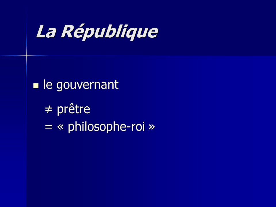 La République le gouvernant ≠ prêtre = « philosophe-roi »