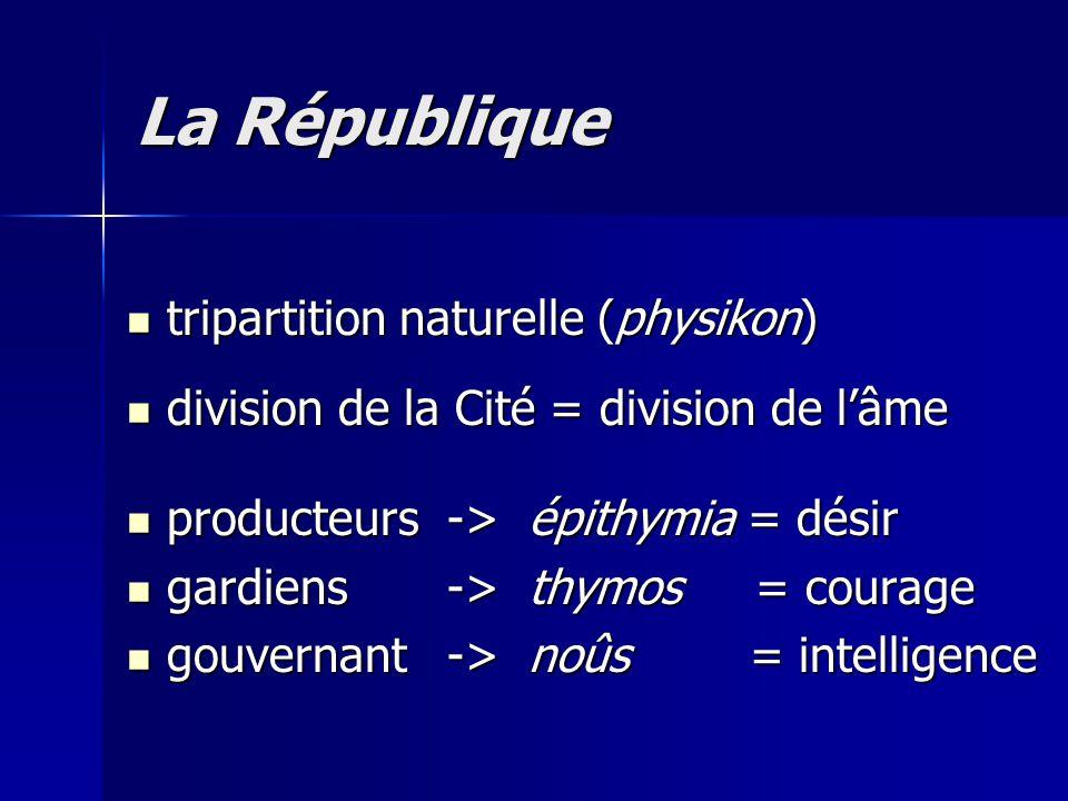La République tripartition naturelle (physikon)