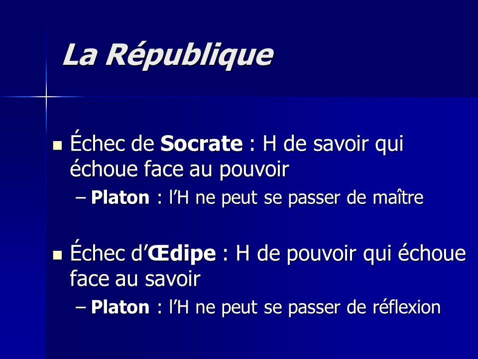 La République Échec de Socrate : H de savoir qui échoue face au pouvoir. Platon : l'H ne peut se passer de maître.