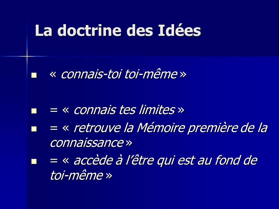 La doctrine des Idées « connais-toi toi-même »