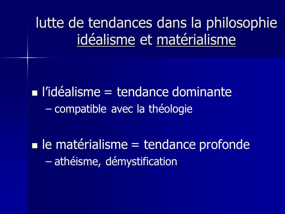 lutte de tendances dans la philosophie idéalisme et matérialisme