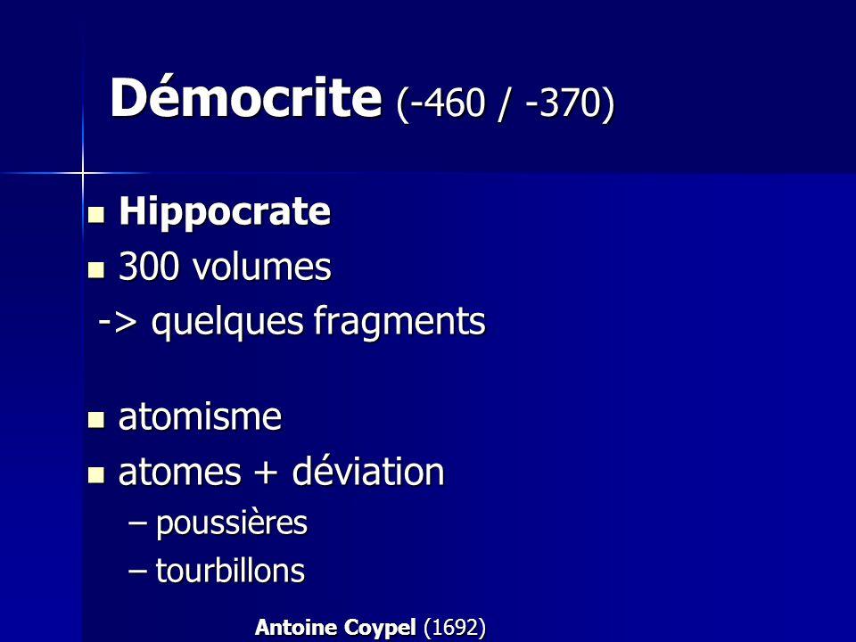 Démocrite (-460 / -370) Hippocrate 300 volumes