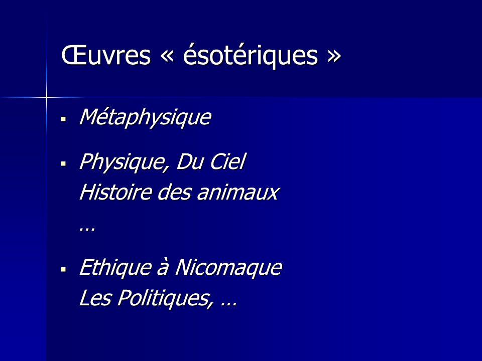 Œuvres « ésotériques » Métaphysique Physique, Du Ciel