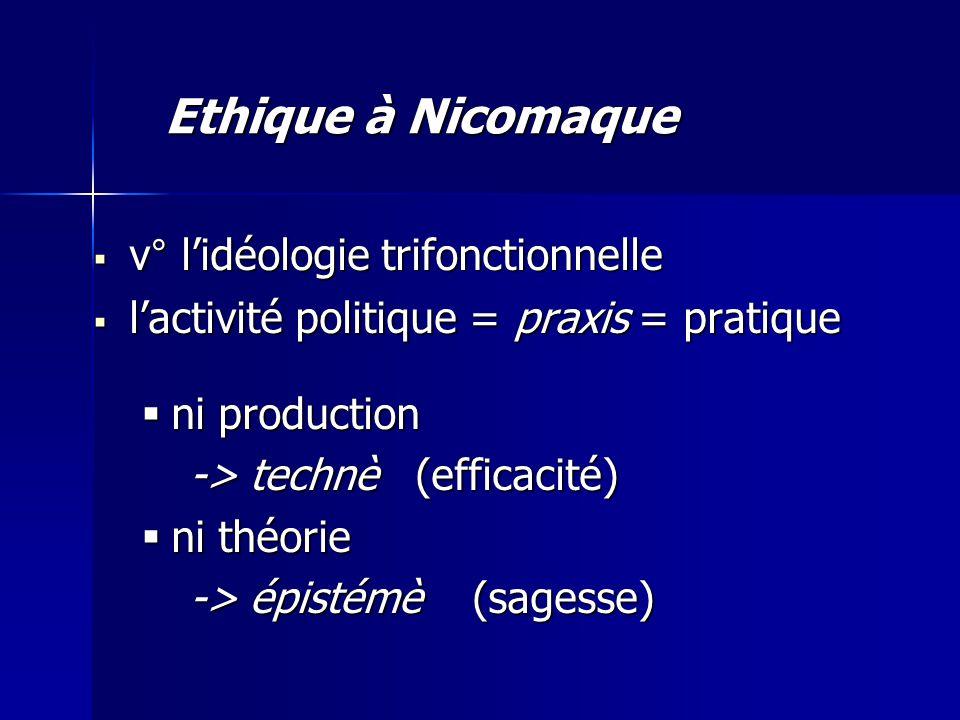 Ethique à Nicomaque v° l'idéologie trifonctionnelle