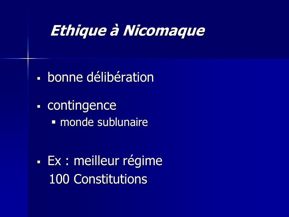 Ethique à Nicomaque bonne délibération contingence