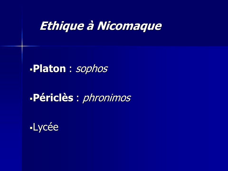 Ethique à Nicomaque Platon : sophos Périclès : phronimos Lycée