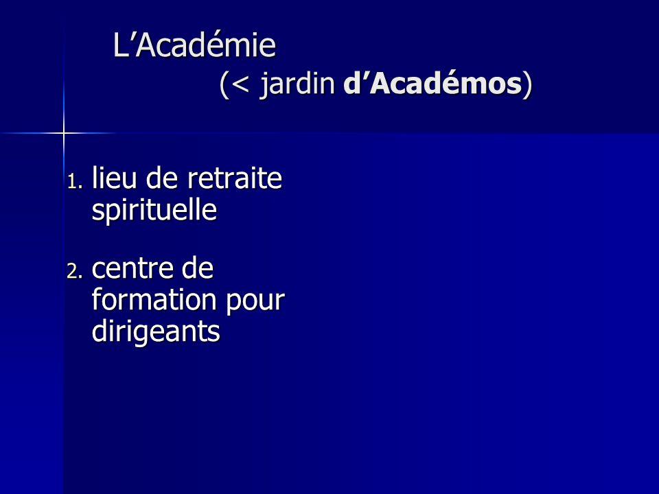 L'Académie (< jardin d'Académos)