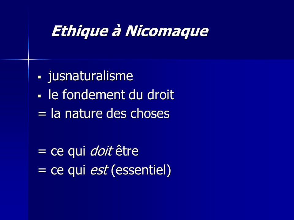 Ethique à Nicomaque jusnaturalisme le fondement du droit