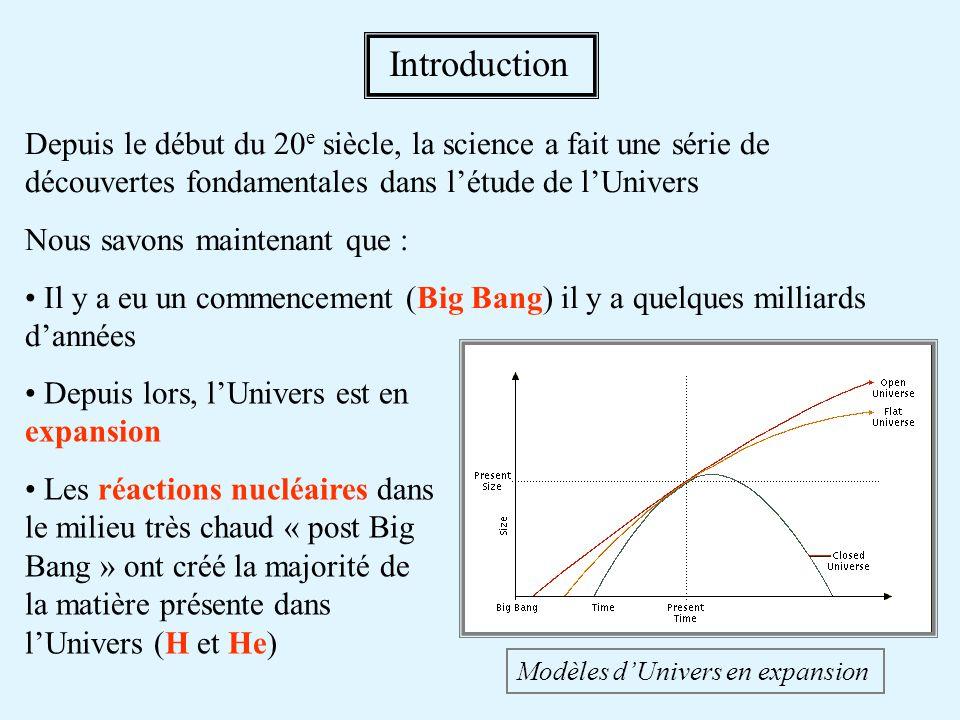 Introduction Depuis le début du 20e siècle, la science a fait une série de découvertes fondamentales dans l'étude de l'Univers.