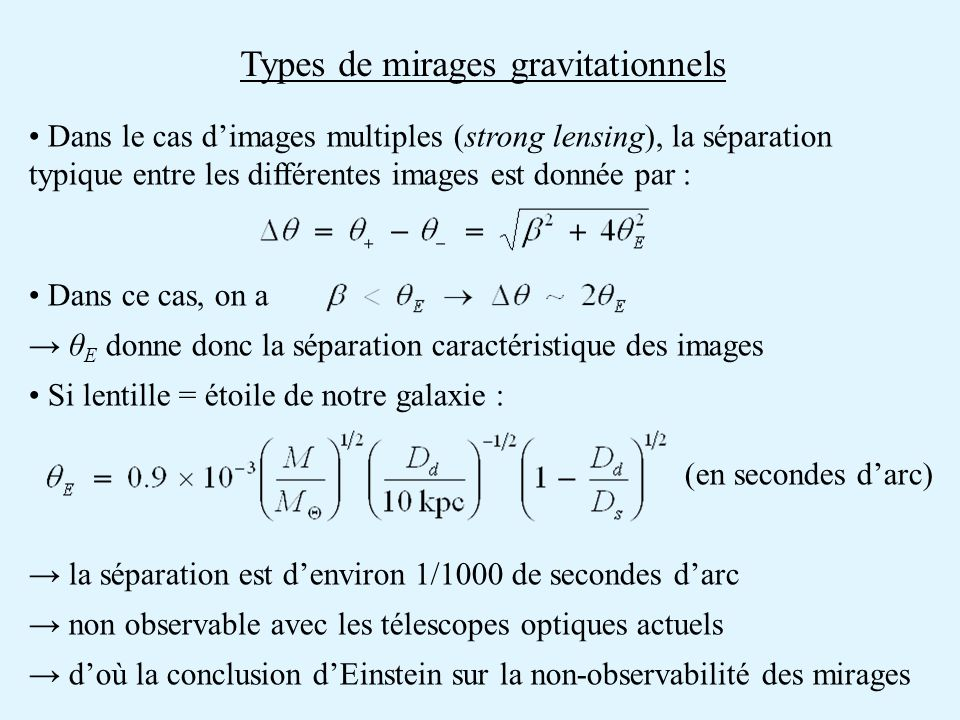 Types de mirages gravitationnels