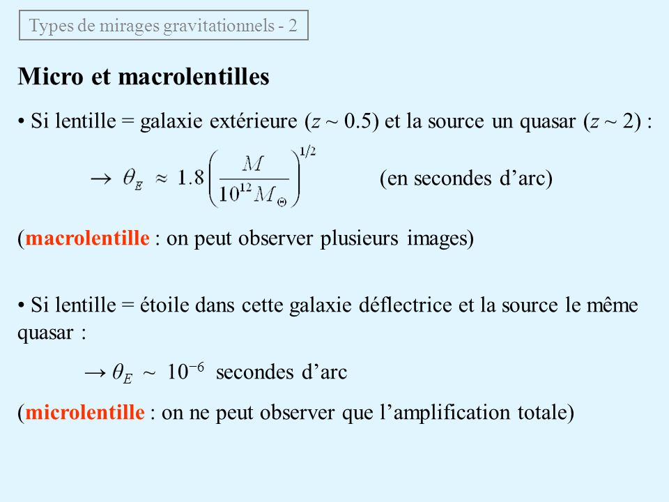 Types de mirages gravitationnels - 2
