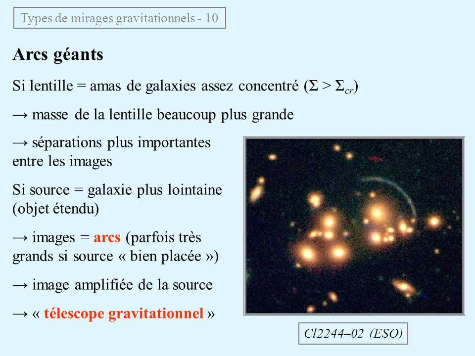 Types de mirages gravitationnels - 10