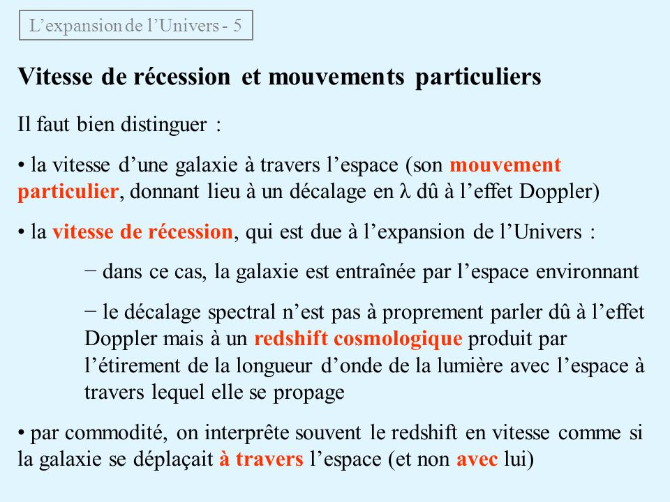 L'expansion de l'Univers - 5