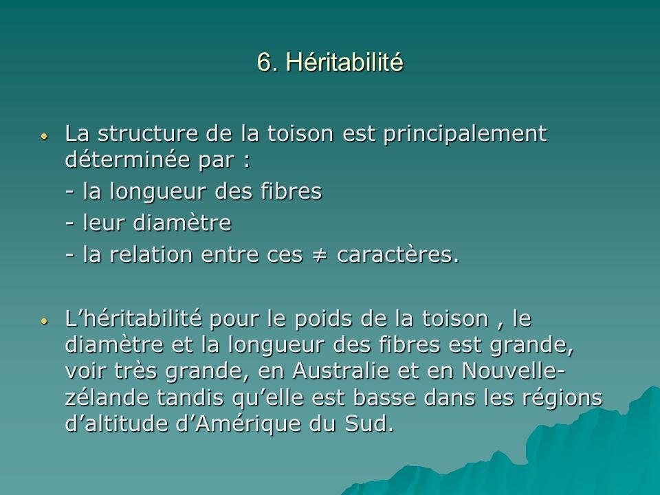 6. Héritabilité La structure de la toison est principalement déterminée par : - la longueur des fibres.