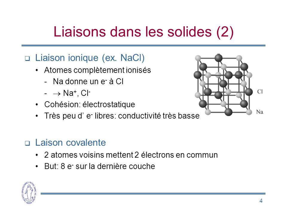 Liaisons dans les solides (2)