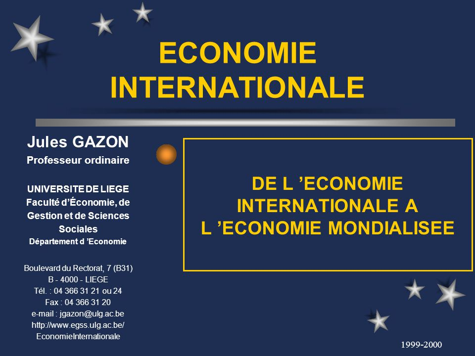 ECONOMIE INTERNATIONALE
