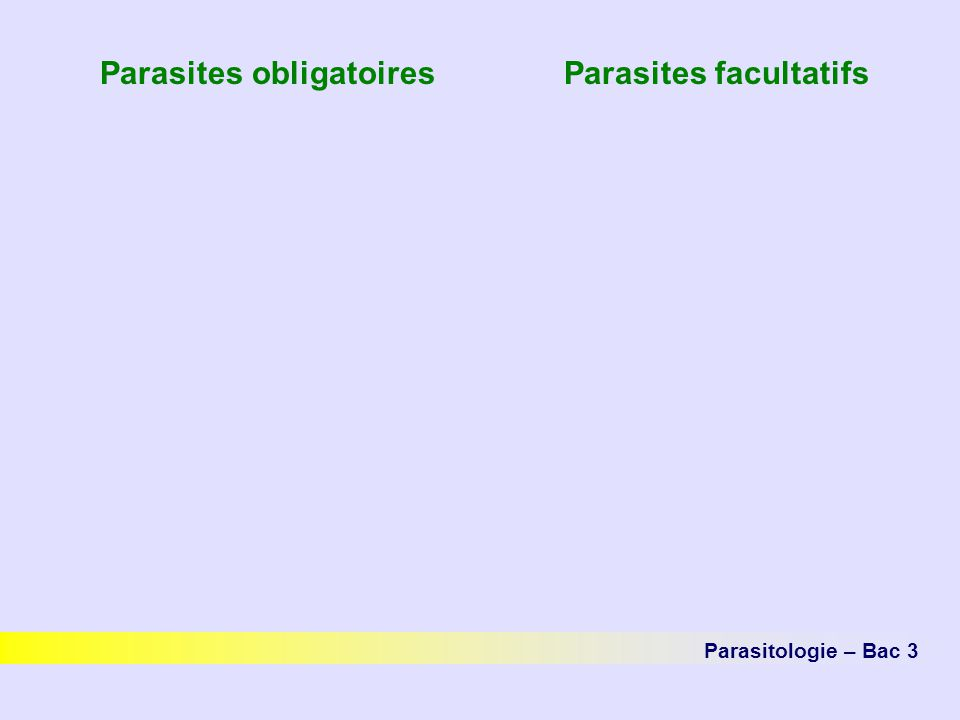 Parasites obligatoires Parasites facultatifs